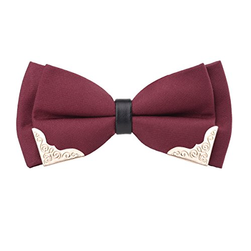 Alizeal Men's Pre-tied Golden-Metal-Edged Two-Layer Bow Ties (Maroon)