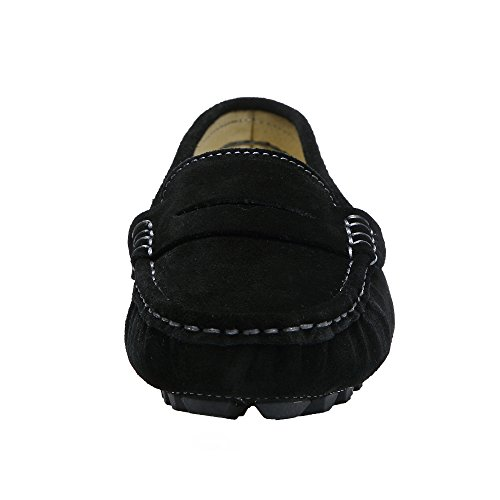 Moccasins Suede 1 Loafers Leather Ruiatoo Black Women's Casual Penny Driving Classic nqvwn6YWtF