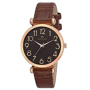 SWISSTONE Analogue Women's & Girls' Watch (Black Dial Brown Colored Strap)