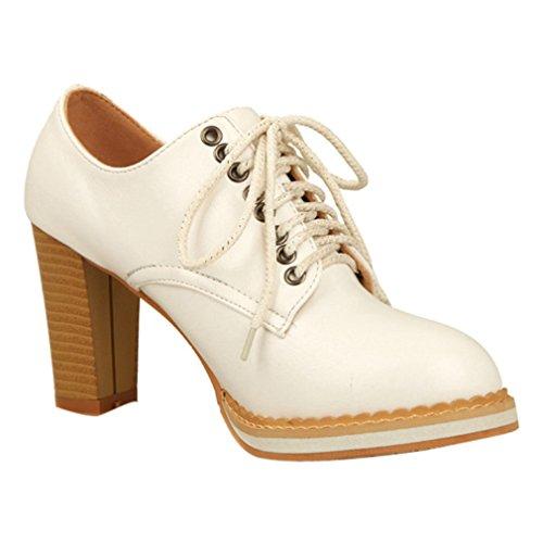 ENMAYER Mujer PU Casual Plataforma de punta redonda hasta el tobillo Botas Bloque de tacones altos Blanco