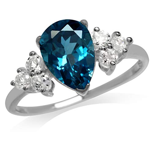 2.06ct. Genuine London Blue & White Topaz 925 Sterling Silver Cocktail Ring Size 8