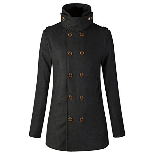 Women's Wool Blends Coat Double-Breasted Slim Long Trench Jacket High Collar Overcoat (L, Black)