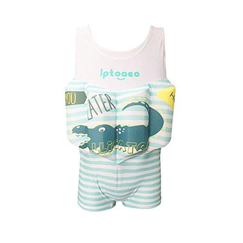 HnjPama Toddler Life Jacket Floatation Swimsuits Swim Vests Life Jackets Boys Girls Vests with Adjustable Buoyancy Green-XXS