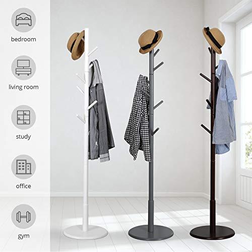 Vlush Wooden Coat Rack Free Standing, Coat Hat Tree Coat Hanger Holder Stand with Round Base for Clothes,Scarves,Handbags,Umbrella-(8 Hooks, Ivory White)
