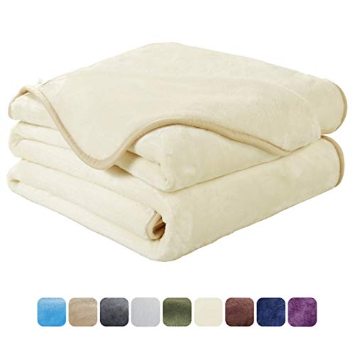 EASELAND Soft Queen Size Blanket All Season Winter Warm Fuzzy Microplush Lightweight Thermal Fleece Blankets for Couch Bed Sofa,90x90 Inches,Ivory