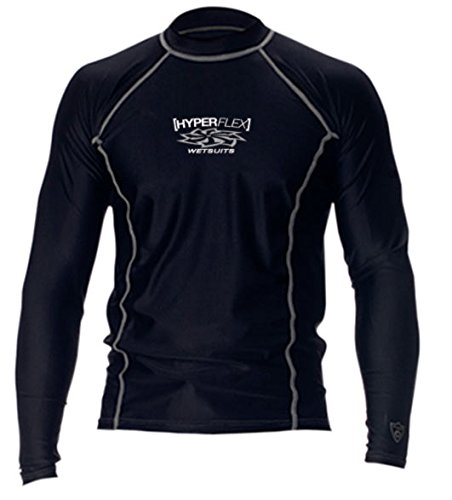 Hyperflex Adult Loose Fit Long Sleeved Rash Guard, X-Small, Black