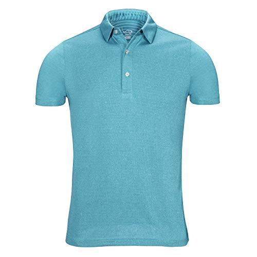 (EAGEGOF Regular Fit Men's Performance Polo Shirt Stretch Tech Golf Shirt Short Sleeve Teal Blue Heather)