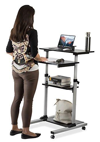 mount it mobile stand up desk height adjustable computer work station rolling presentation cart. Black Bedroom Furniture Sets. Home Design Ideas