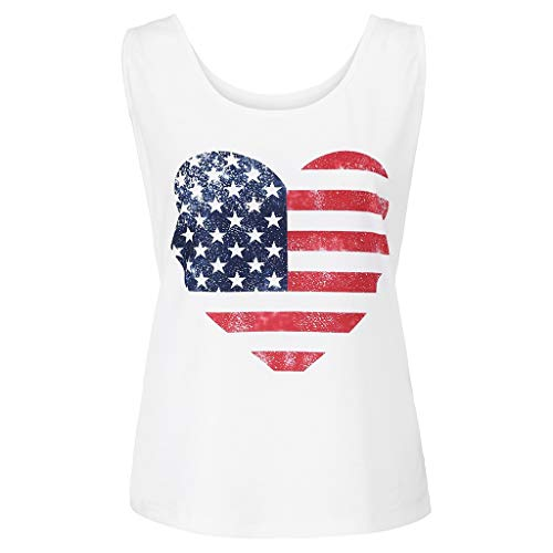 Womens Casual Soft O-Neck Sleeveless Vest Patriotic Stripes Printing American Flag Print Tank Love Tops Shirt (White) - Keep Printing