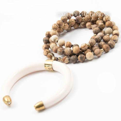 Double Horn Necklace with Brown Jasper & Ethiopian Brass - 33 Inches Long Handmade Necklace by Miller Mae Designs