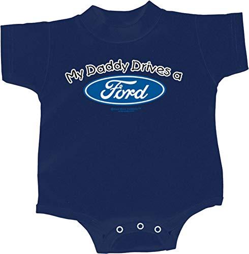 Ford Motors V8 (Daddy Drives a Ford Infant Romper, Navy 6M)