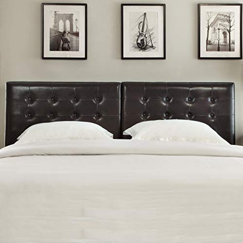 Domusindo Button Tufted King or Cal King Synthetic Leather Upholstery Headboard King (Cal Headboard Leather King)