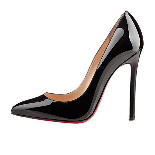 EKS–Chaussures Femme sitrible haute d ¨ ¹ Nne Talon Cuir Verni Pointe Gousse d'Pumps Noir 9US