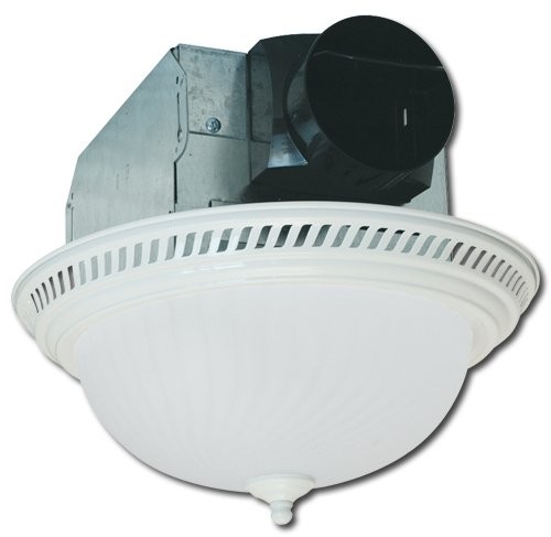 - Air King AKLC703 Decorative Round Quiet Exhaust Bath Fan with Light, 70-CFM, White Finish