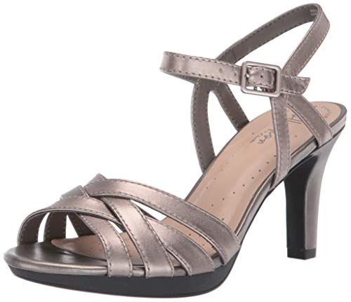 CLARKS Women's Adriel Wavy Heeled Sandal, Pewter Leather, 060 M US