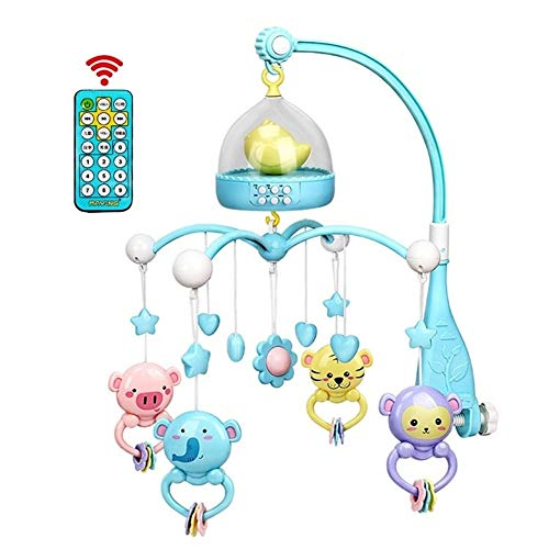 bromrefulgenc Music Crib Mobile Toddler Toy,0-12 Months Baby Remote Control Rotating Musical Crib Mobile Bed Rattle Bell Toy ()