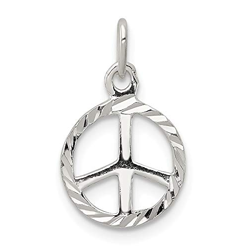 (925 Sterling Silver Peace Sign Symbol Pendant Charm Necklace Fine Jewelry Gifts For Women For Her)