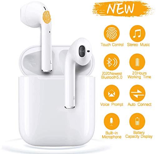 i12 Bluetooth Kopfhörer,Drahtlose In Ear Kopfhörer,3D Stereo Sound Touch Control Kopfhörer Mini-Bluetooth-Kopfhörer mit Auto Pairing Funktion,Kopfhörer für Apple/Airpods/Android/Samsung/iPhone - Weiß