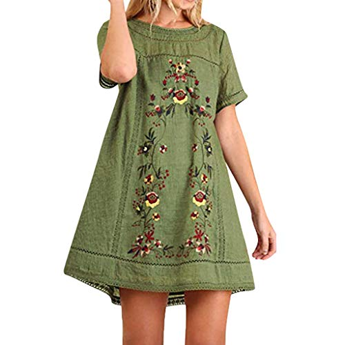 Dachshund Fitted T-shirt - Dainzuy T-Shirt Dresses for Women Fitted Bohemian Embroidered Short Sleeve Dress Cotton Linen Tunic Tops Blouse Green