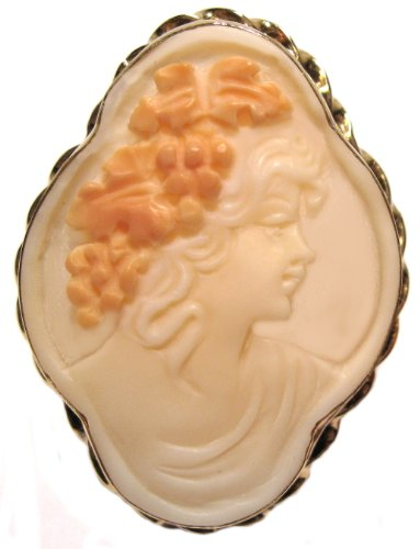 Cameo Brooch, Autumn Love, Master Carved, Shell Sterling Silver 18k Yellow Gold Overlay Italian (Shell Yellow Brooch)
