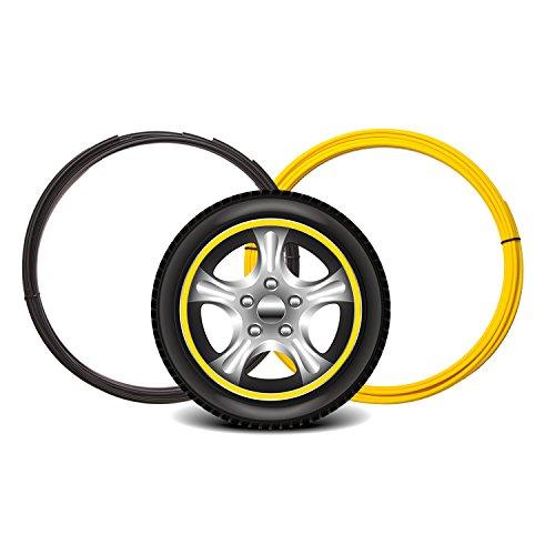 Edge Rim (Maidian Wheel Hub Decorative Protection Ring Wheel Hub Stripe Automobile Decoration Scratch Prevention (2M/Item×4piece(8M), Yellow))