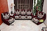 Luxury Crafts Luxurious Cotton Sofa Cover 5 Seater (, Standard) - Set of 10 (Maroon)
