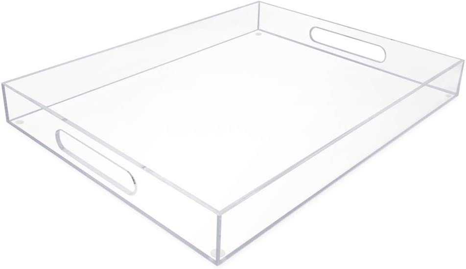 Isaac Jacobs Clear Acrylic Serving Tray (14x18) withCutoutHandles, Spill-Proof, Stackable Organizer, Space-Saver, Food & Drinks Server, Indoors / Outdoors, Lucite Storage Décor & More