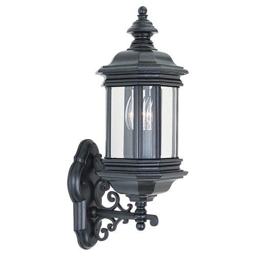 Sea Gull Lighting 8838-12 Outdoor Sconce with Clear Beveled Glass Shades, Black - Gate Gull Hill Sea Lighting