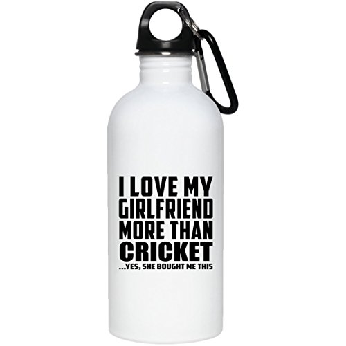 Designsify Boyfriend Water Bottle, I Love My Girlfriend More Than Cricket .She Bought Me This - Water Bottle, Stainless Steel Tumbler, Best Gift for Men, Man, Him, BF from Girlfriend by Designsify