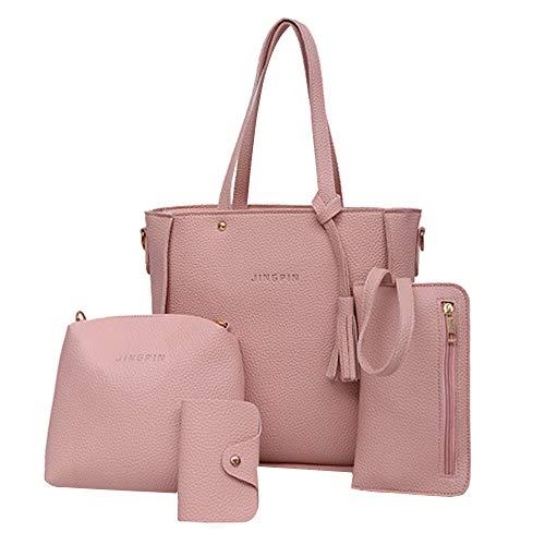 (vermers Women Bags Fashion Handbag Shoulder Bags Tote Bag Crossbody Wallet Bags Set 4pcs(Pink))