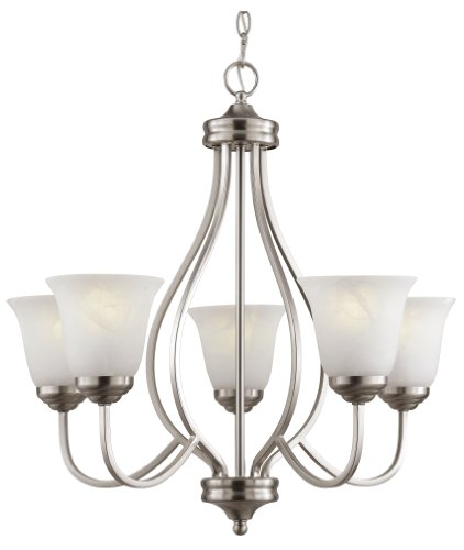Trans Globe Lighting PL-10005 BN 5-Light Chandelier, Brushed Nickel