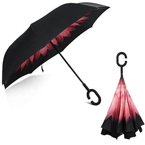 Rainlax Inverted Umbrella Double Layer Windproof UV Protection Reverse Folding...
