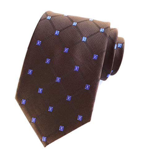 Dark Brown Holiday Neckties Check Diamond Silk Tie Suit Fitness Dating For Men Youth Boy ()