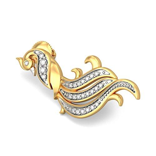 Or jaune 18K 0,22CT TW White-diamond (IJ   SI) Boucles d'oreille à tige