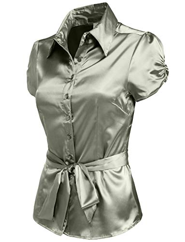 (NE PEOPLE Womens Basic Short Sleeve Satin Blouse Top with Waist Tie)