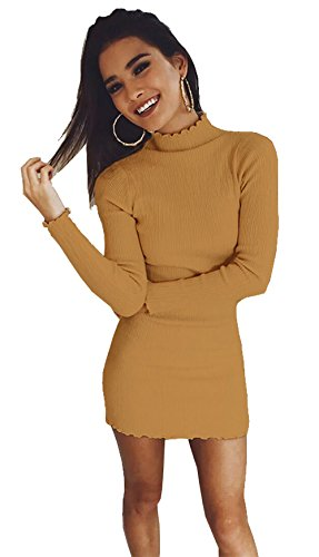 Longwu Women's Slim Fitted Sweater Dress Lotus Leaf Knit Bodycon Turtleneck Tops Blouse Jumpers Brown-M (Sweater Striped Crewneck Lambswool)