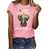 Funny T-Shirt for Women,SMALLE‿ Women T-Shirt Casual Summer Short Sleeve Tee Sunflower Print Loose Fit Blouse Tops