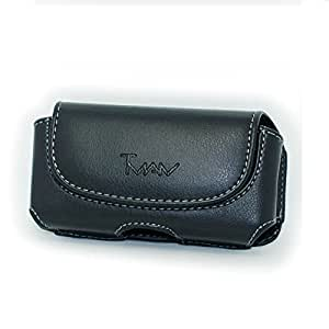 Black Color Horizontal Imitation Leather Cover Belt Clip Side Case Pouch For LG Apex Axis / Ally