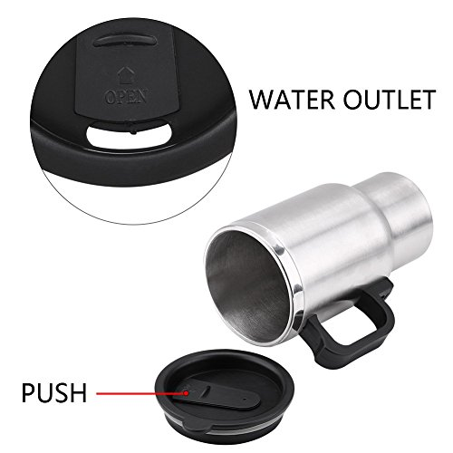 Electric Car Kettles Boiling Heat Cup Insulation Insulated Bottles 450ml 12V Stainless Steel Cigarette Lighter Plug by Aramox (Image #5)