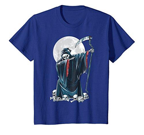 Kids Grim Reaper Skeleton Dabbing T Shirt Kids Halloween Death 6 Royal Blue