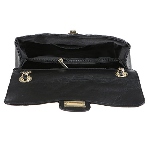 Chicca Borse Frau Schultertasche in echtem gestepptem Leder Made in Italy 27x17x9 Cm Schwarz pQ379DJcIG