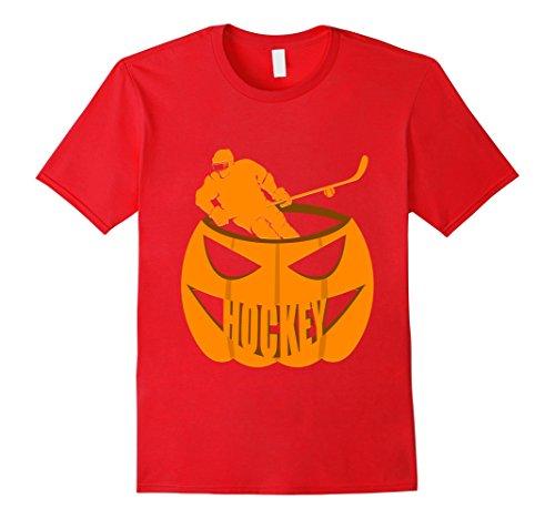 Mens Hockey Pumpkin Lantern Face Halloween Scary T-Shirt Medium Red