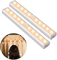 OUSFOT Schrankleuchten mit Bewegungsmelder Schrankbeleuchtungen LED Kabellos Kleiderschrank mit 4 Magnetstreifen...