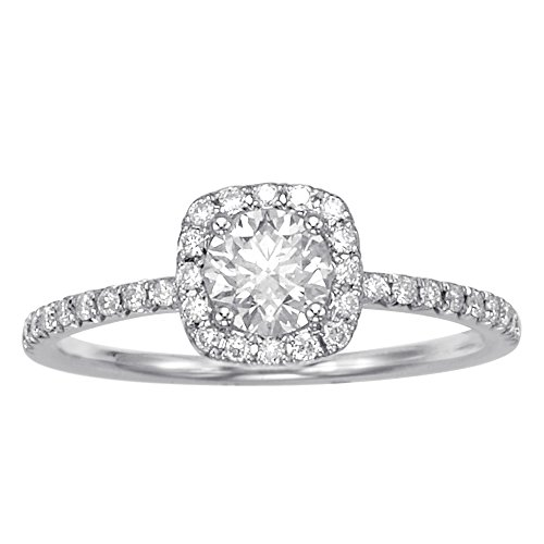 (14K White Gold 0.57ct TDW Princess Cut Diamond Halo Engagement Ring (G-H, SI1-SI2))