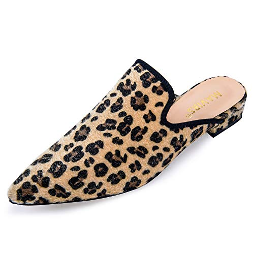 MAVIRS Mules for Women, Women Animal Print Suede Mule Slippers, Woman Slip on Backless Slides Loafers Leopard Suede Size 7