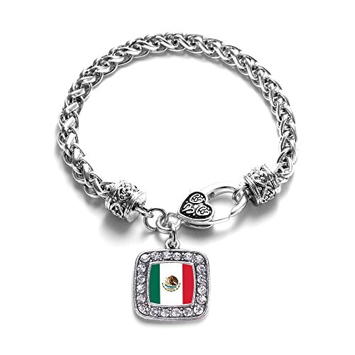 - Mexican Flag Mexico Pride Charm Classic Silver Plated Square Crystal Bracelet