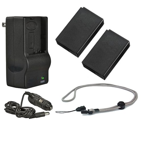Nikon COOLPIX P1000 High Capacity Batteries (2 Units) + AC/DC Travel Charger + Krusell Multidapt Neck Strap (Black Finish)