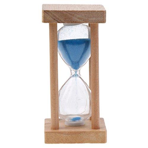 MonkeyJack Wooden Hourglass Blue Sand Glass Egg Timer Clock Kids Brushing Gift 5 Minutes