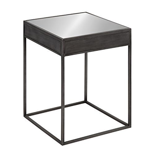 Kate and Laurel Aleksand Square Mirrored Metal End Table, Pewter by Kate and Laurel