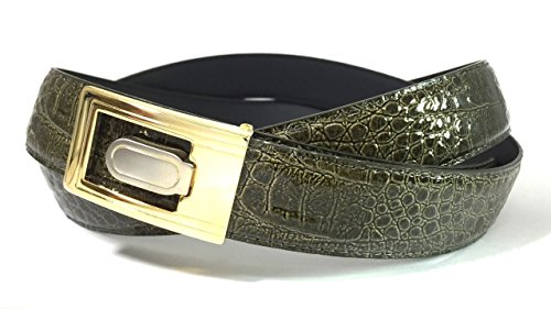 EDNA Bonded Leather Baby Crocodile Skin Print Dress Belt Olive Green